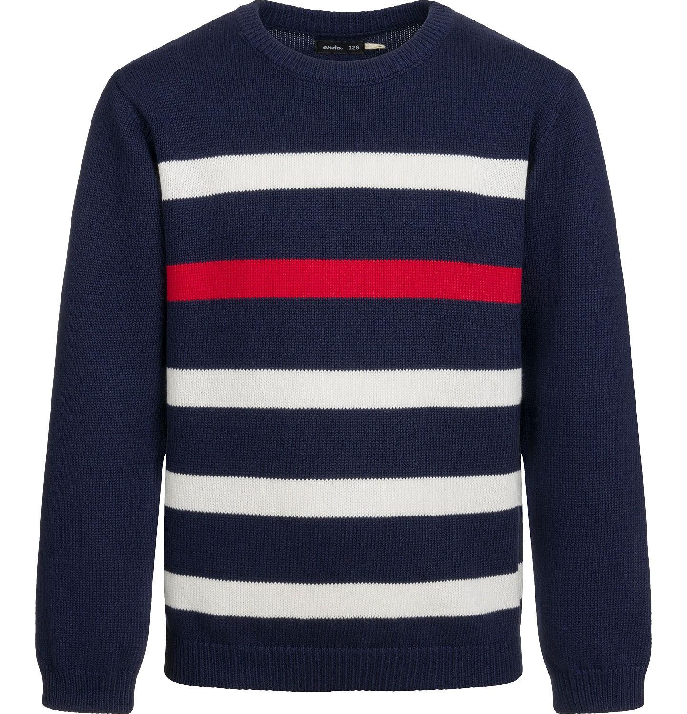 Endo - Sweter dla chłopca, w paski, granatowy, 2-8 lat C03B001_1