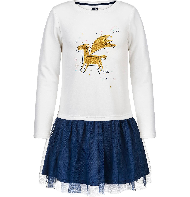 Endo - Sukienka z długim rękawem dla dziewczynki 3-8 lat D82H032_1