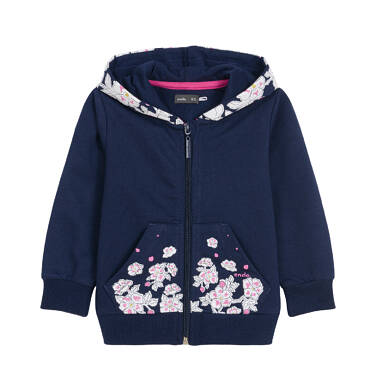 Endo - Bluza rozpinana z kapturem dla dziecka do 3 lat, kwiatowy nadruk, ciemnogranatowa N92C010_1