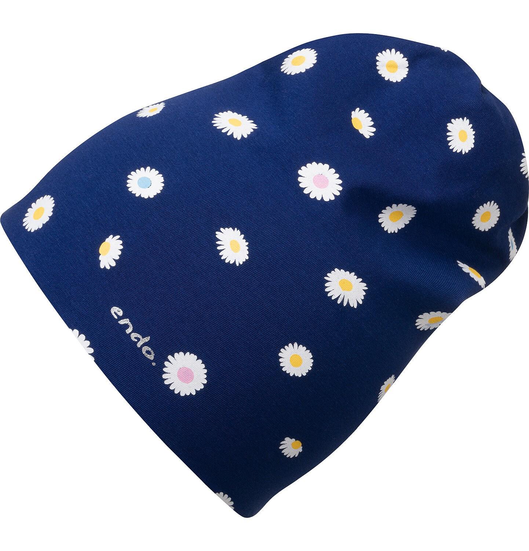 Endo - Czapka wiosenna dla dziecka, w kwiatki, granatowa D05R006_1