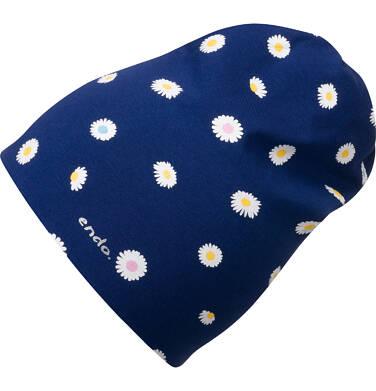 Czapka wiosenna dla dziecka, w kwiatki, granatowa D05R006_1