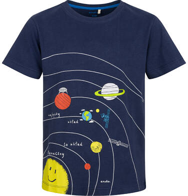 Endo - T-shirt z krótkim rękawem dla chłopca, z układem słonecznym, granatowy, 2-8 lat C03G114_1 7
