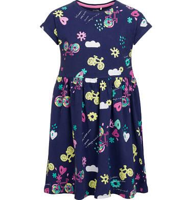 Endo - Sukienka z krótkim rękawem, deseń w rowery, granatowa, 9-13 lat D03H511_1