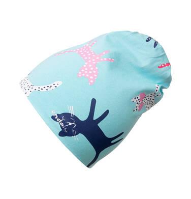 Endo - Czapka wiosenna dla dziecka, w deseń w koty, zielona N05R010_1 5