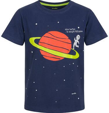 Endo - T-shirt z krótkim rękawem dla chłopca, z planetą, granatowy, 2-8 lat C03G115_1 5