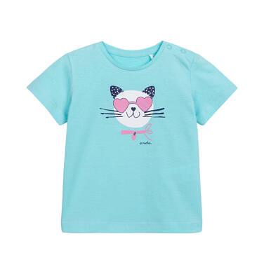 T-shirt dla dziecka do 2 lat, z kotkiem, zielony N05G059_1