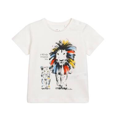 Endo - T-shirt dla dziecka do 2 lat, z dużym i małym lwem, biały N05G067_1 2