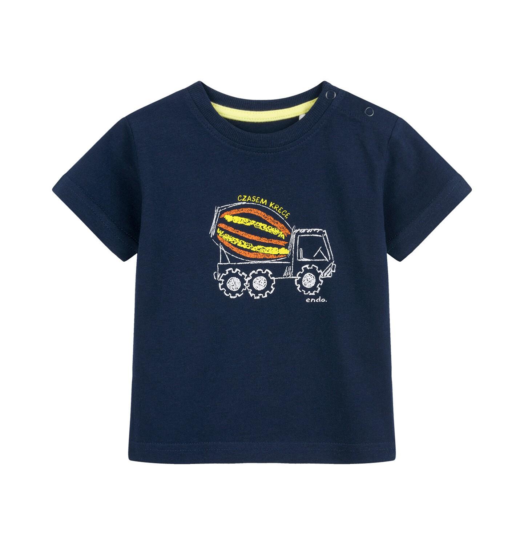 Endo - T-shirt dla dziecka do 2 lat, z betoniarką, granatowy N03G058_1