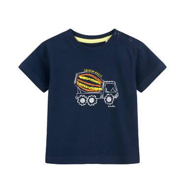 T-shirt dla dziecka do 2 lat, z betoniarką, granatowy N03G058_1