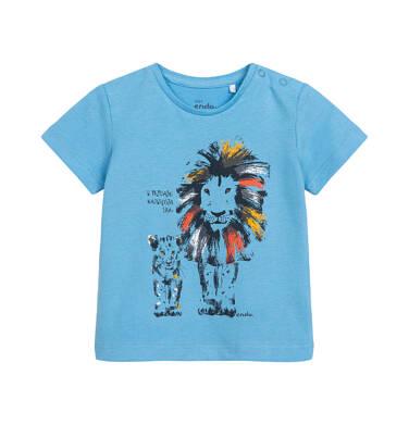 Endo - T-shirt dla dziecka do 2 lat, z dużym i małym lwem, niebieski N05G068_1 1