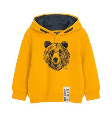 Endo - Bluza z kapturem dla dziecka do 3 lat, z niedźwiedziem, ciemnomusztardowa N92C026_1