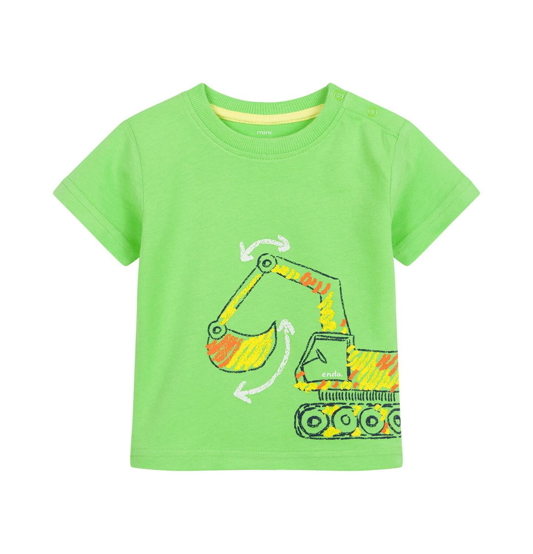 Endo - T-shirt dla dziecka do 2 lat, z koparką, zielony N03G060_1