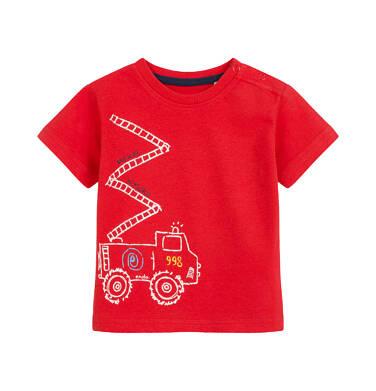 Endo - T-shirt dla dziecka do 2 lat, ze strażą, czerwony N03G061_1