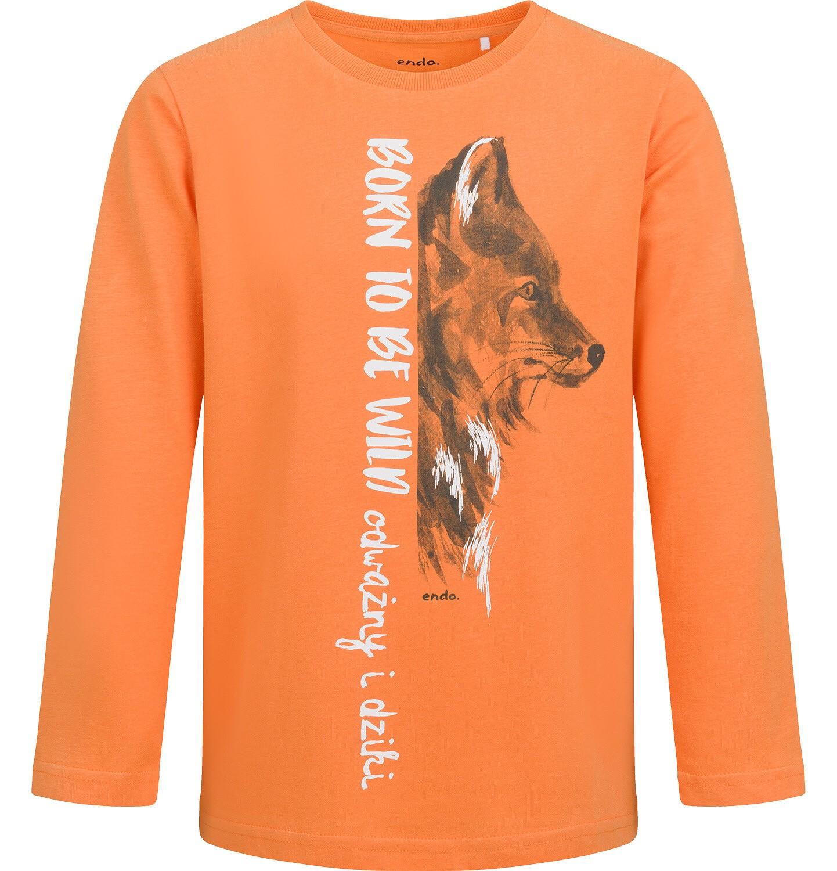Endo - T-shirt z długim rękawem dla chłopca, z wilkiem, pomarańczowy, 9-13 lat C04G086_1