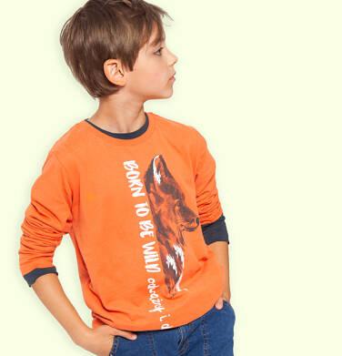 Endo - T-shirt z długim rękawem dla chłopca, z wilkiem, pomarańczowy, 9-13 lat C04G086_1 14
