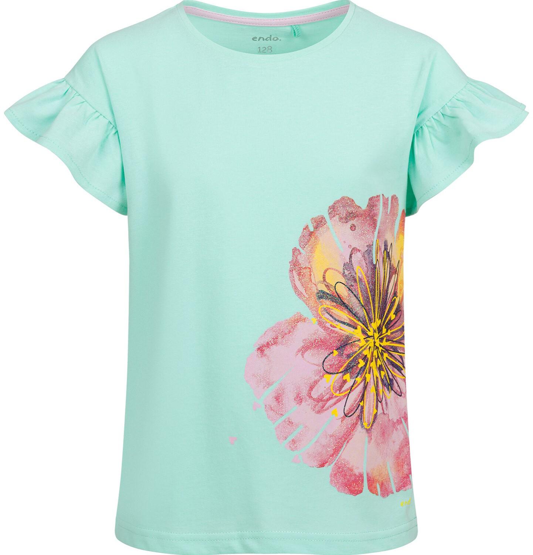 Endo - Bluzka z krótkim rękawem dla dziewczynki, z kwiatem, miętowa, 9-13 lat D03G615_2