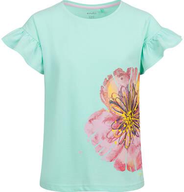 Endo - Bluzka z krótkim rękawem dla dziewczynki, z kwiatem, miętowa, 9-13 lat D03G615_2 172