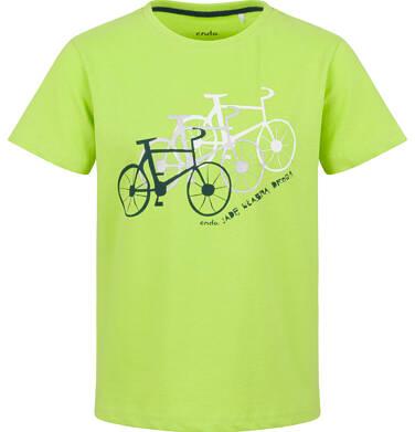 Endo - T-shirt z krótkim rękawem dla chłopca, z rowerami, limonkowy, 9-13 lat C03G580_1