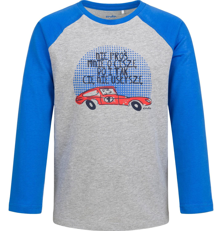 Endo - T-shirt z długim rękawem dla chłopca, z autem, szary, 2-8 lat C04G193_1