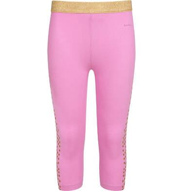 Endo - Legginsy 3/4 dla dziewczynki, z nadrukiem z boku, różowe, 2-8 lat D05K039_1 5
