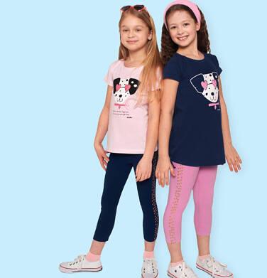 Endo - Legginsy 3/4 dla dziewczynki, z nadrukiem z boku, różowe, 2-8 lat D05K039_1,2