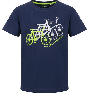 Endo - T-shirt z krótkim rękawem dla chłopca, z rowerami, granatowy, 9-13 lat C03G580_2