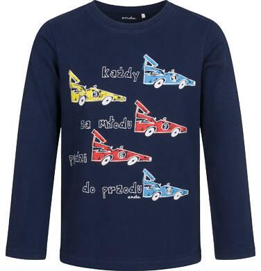Endo - T-shirt z długim rękawem dla chłopca, w samochody, granatowy, 2-8 lat C04G194_1 16