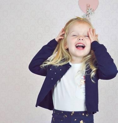 Endo - Sweter dla dziewczynki, rozpinany, granatowy, 2-8 lat D03B002_1 68