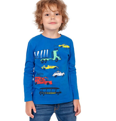 Endo - T-shirt z długim rękawem dla chłopca, w samochody, niebieski, 2-8 lat C04G195_1 13