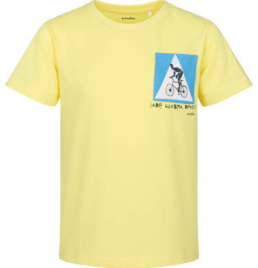 Endo - T-shirt z krótkim rękawem dla chłopca, z rowerem, żółta, 9-13 lat C03G581_1