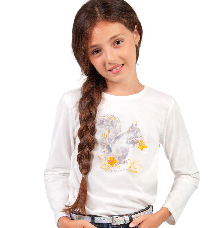 Endo - Bluzka z długim rękawem dla dziewczynki, z wiewiórką, porcelanowa, 9-13 lat D04G011_1