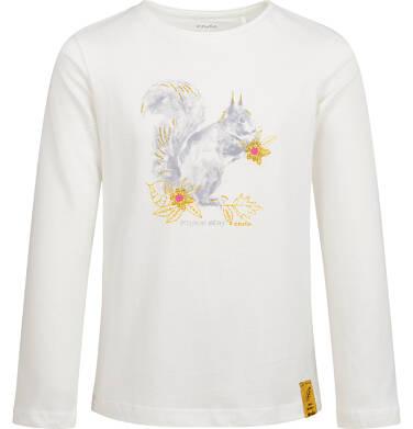 Bluzka z długim rękawem dla dziewczynki, z wiewiórką, porcelanowa, 9-13 lat D04G011_1