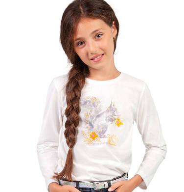 Endo - Bluzka z długim rękawem dla dziewczynki, z wiewiórką, porcelanowa, 9-13 lat D04G011_1,2