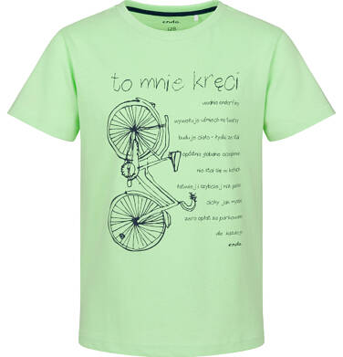 Endo - T-shirt z krótkim rękawem dla chłopca, z rowerem, zielony, 2-8 lat C03G082_1 32