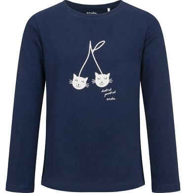 Bluzka z długim rękawem dla dziewczynki, w koty, granatowa, 2-8 lat D04G144_1