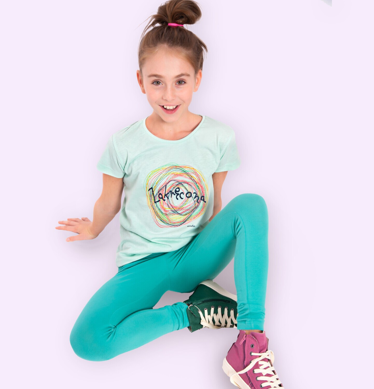 Endo - Legginsy dla dziewczynki, gładkie, zielone, 9-13 lat D05K045_3