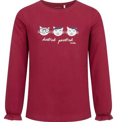 Endo - Bluzka z długim rękawem dla dziewczynki, w koty, bordowa, 2-8 lat D04G149_2 11