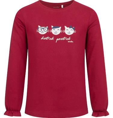 Endo - Bluzka z długim rękawem dla dziewczynki, w koty, bordowa, 2-8 lat D04G149_2 90