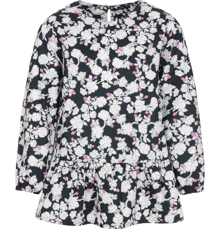 Endo - Tunika z długim rękawem dla dziewczynki, deseń w kwiaty, czarna, 9-13 lat D92T501_1