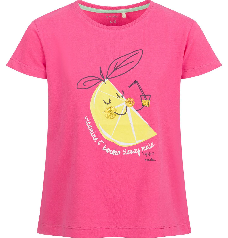 Endo - Bluzka z krótkim rękawem dla dziewczynki, z cytryną, różowa, 9-13 lat D03G631_1