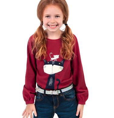 Endo - Bluzka z długim rękawem dla dziewczynki, z kotem, bordowa, 2-8 lat D04G153_1 64