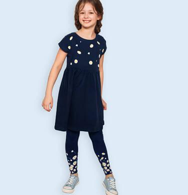 Legginsy dla dziewczynki, z nadrukiem u dołu nogawek, granatowe, 9-13 lat D05K047_1