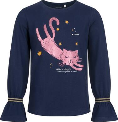 Endo - Bluzka z długim rękawem dla dziewczynki, z kotem, granatowa, 2-8 lat D04G154_1 43