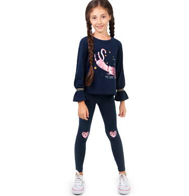 Endo - Bluzka z długim rękawem dla dziewczynki, z kotem, granatowa, 2-8 lat D04G154_1 70