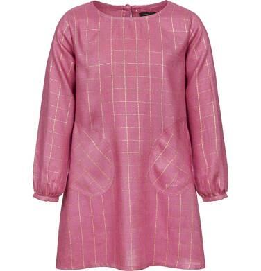 Sukienka z długim rękawem dla dziewczynki, w kratę, różowa, 3-8 lat D92H016_1