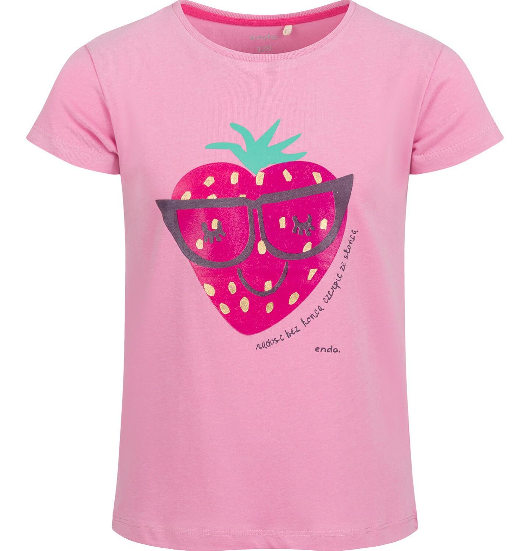 Endo - Bluzka z krótkim rękawem dla dziewczynki, z truskawką, różowa, 9-13 lat D03G632_1