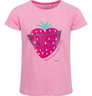 Endo - Bluzka z krótkim rękawem dla dziewczynki, z truskawką, różowa, 9-13 lat D03G632_1 21