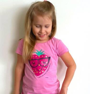 Endo - Bluzka z krótkim rękawem dla dziewczynki, z truskawką, różowa, 9-13 lat D03G632_1 164
