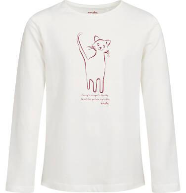 Endo - Bluzka z długim rękawem dla dziewczynki, z kotem, porcelanowa, 9-13 lat D04G156_1 54