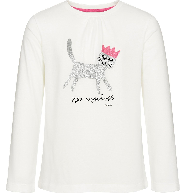 Endo - Bluzka z długim rękawem dla dziewczynki, jego wysokość kot, złamana biel, 3-8 lat D92G019_1